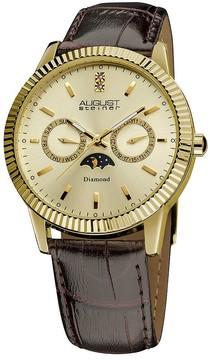 August Steiner Diamond Multi-Function Gold-Tone Men's Watch