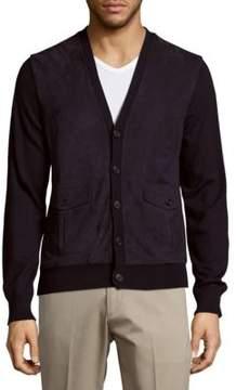 Ralph Lauren Purple Label Suede & Cashmere Button-Down Lamb Fur Cardigan
