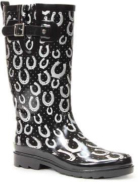 Western Chief Black & White Horseshoe Splash Rain Boot - Women