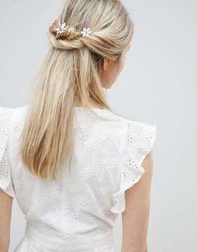 Asos DESIGN Pastel Flower Station Back Hair Clip