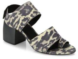Ld Tuttle The Lace Leopard-Print Leather Block-Heel Sandals