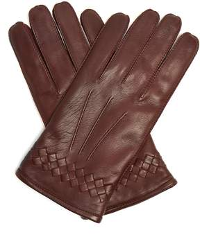 Bottega Veneta Intrecciato-cuff leather gloves