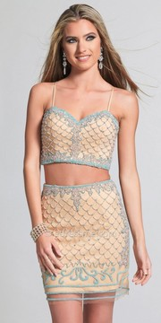 Dave and Johnny Mermaid Designed Two Piece Cocktail Dress