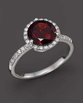 Bloomingdale's Garnet and Diamond Halo Ring in 14K White Gold - 100% Exclusive