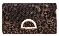 Nina Leopard Printed Pleated Clutch