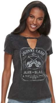 Rock & Republic Women's Johnny Cash Man in Black Choker Neck Tee