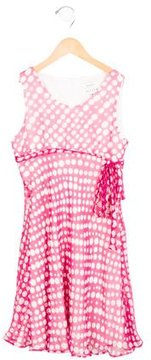 Helena Girls' Silk Polka Dot Dress