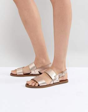 Dune Two Part Rose Gold Leather Sandal