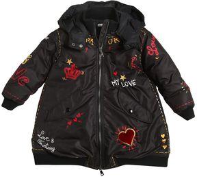 Dolce & Gabbana Printed Hooded Nylon Down Coat