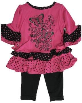 Carter's Baby Girls Fuchsia Butterfly Applique Dotted 2 Pc Leggings Set 12-24M