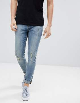 Jack Wills Cashmoor Skinny Jeans With Distressing In Mid Wash
