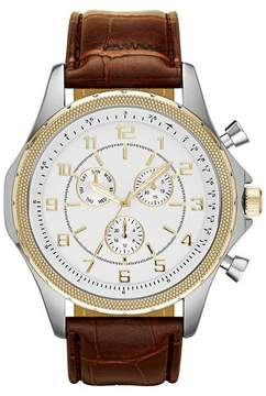 Mossimo Men's Oversize Strap Watch in Brown with Gold Decorative Subdials