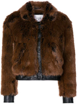 Dondup single breasted faux-fur jacket