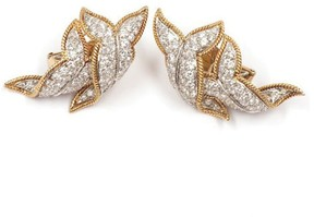 David Webb Platinum & 18K Yellow Gold 4.08ct Diamond Twist Clip-on Earrings