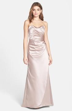 Dessy Collection Women's Strapless Matte Satin Trumpet Dress
