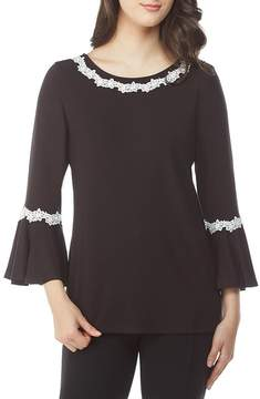 Peter Nygard Petite Lace Trimmed Bell Sleeve Top