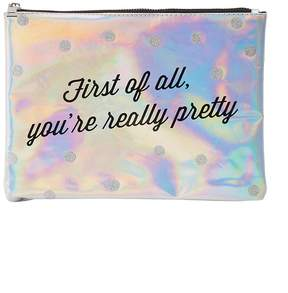 Charlotte Russe Holographic Zip-Up Makeup Bag