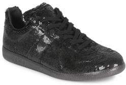 Maison Margiela Sequined Leather Low-Top Sneakers