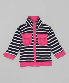 Hudson Baby Navy Stripe Pocket Zip-Up Jacket - Newborn & Infant