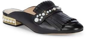 Karl Lagerfeld Paris Women's Becky Embellished Leather Slides