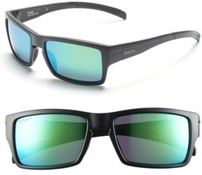 Smith Women's 'Outlier' 56Mm Polarized Sunglasses - Matte Black/ Polar Green Sol