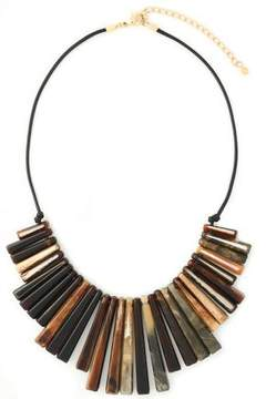 Kenneth Jay Lane Gold-Tone Tortoiseshell Resin And Braided Leather Necklace