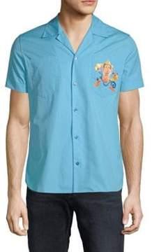 Moschino Graphic Logo Cotton Button-Down Shirt