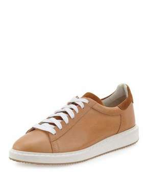 Brunello Cucinelli Men's Leather Sneakers, Beige