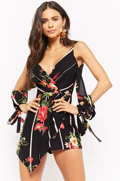 Forever 21 Striped Floral Open-Shoulder Romper