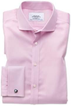 Charles Tyrwhitt Slim Fit Spread Collar Non-Iron Puppytooth Light Pink Cotton Dress Shirt Single Cuff Size 14.5/32