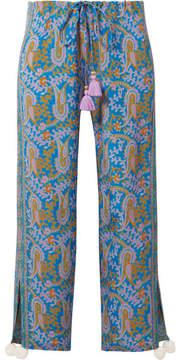 Figue Goa Printed Silk Crepe De Chine Wide-leg Pants - Blue