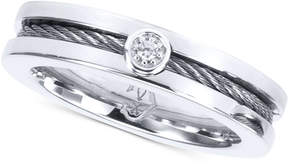 Charriol Diamond Accent Twisted Cable Ring in Stainless Steel