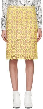 Emilio Pucci Yellow and Pink Logo Lace Skirt