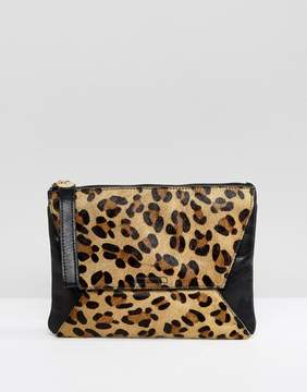Oasis Leopard Printed Clutch Bag