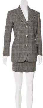 Gianni Versace Vintage Houndstooth Skirt Suit
