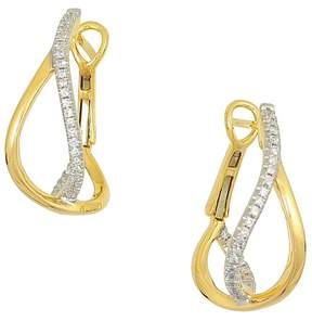 Frederic Sage 18K Yellow Gold Small Diamond Crossover Hoop Earrings