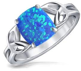 Celtic Bling Jewelry 925 Silver Triquetra Knot Synthetic Blue Opal Ring Rhodium Plated.