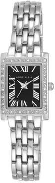 Anne Klein Crystal-Accented Silvertone Tank Case Black Dial Bracelet Watch