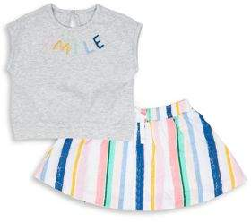 ED Ellen Degeneres Baby Girl's Two-Piece Smile Cotton Top and Skirt Set