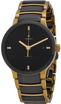 Rado Centrix Black Dial Gold-plated and Black Ceramic Men's Watch