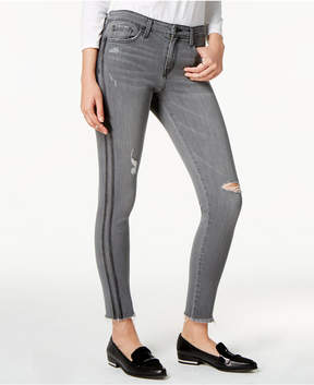 Flying Monkey Frayed Tuxedo-Stripe Skinny Jeans