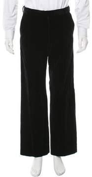 Dries Van Noten Velvet Flat Front Pants