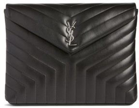 Saint Laurent Large Loulou Matelasse Leather Pouch - Black - BLACK - STYLE