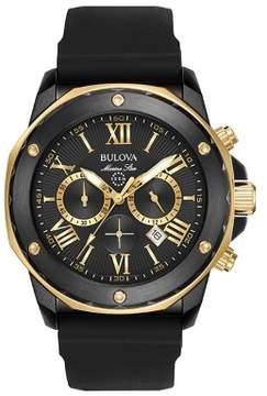 Bulova Marine Star 98B278 Black Silicone Analog Quartz Men's Watch