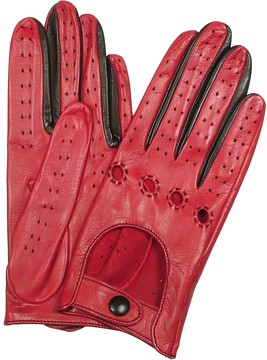 Forzieri Women's Red & Black Perforated Italian Leather Driving Gloves