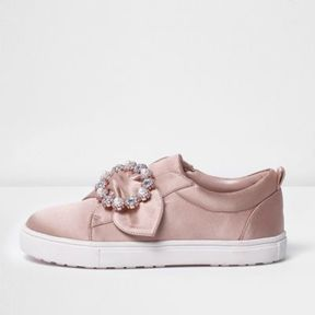 River Island Girls pink satin embellished brooch plimsolls