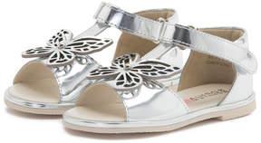 Sophia Webster Flutterby Metallic Leather T-Strap Flat Sandal, Silver, Toddler/Youth