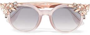 Jimmy Choo Vivy Embellished Round-frame Acetate And Rose Gold-tone Sunglasses - Blush