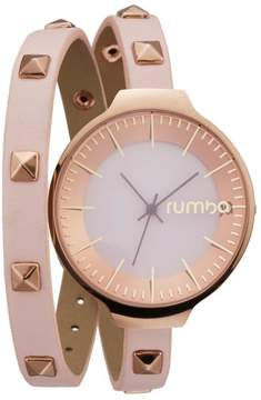 RumbaTime Orchard Studded Pink Double Wrap Strap Watch
