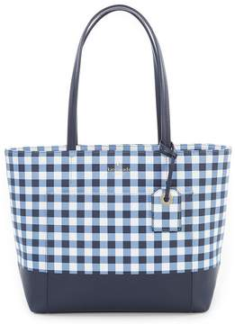 Kate Spade Hyde Lane Gingham Small Riley Tote - NAVY/WHITE - STYLE